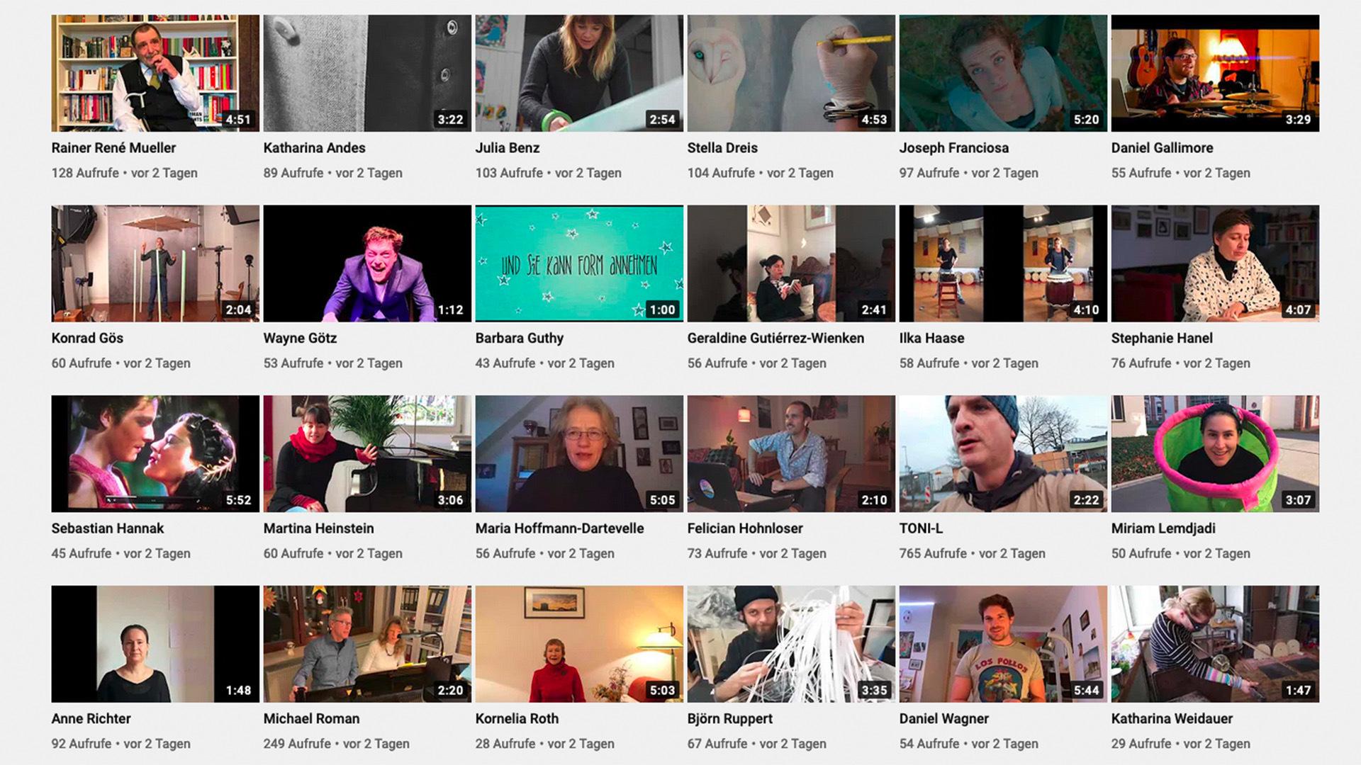 Viele Videos, in Kacheloptik angeordnet auf einem Bildschirm