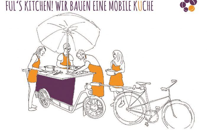 Eine Zeichnung, auf der vier Personen mit Schürzen um ein Fahrrad mit Anhänger stehen. Sie haben Geschirr in der Hand.