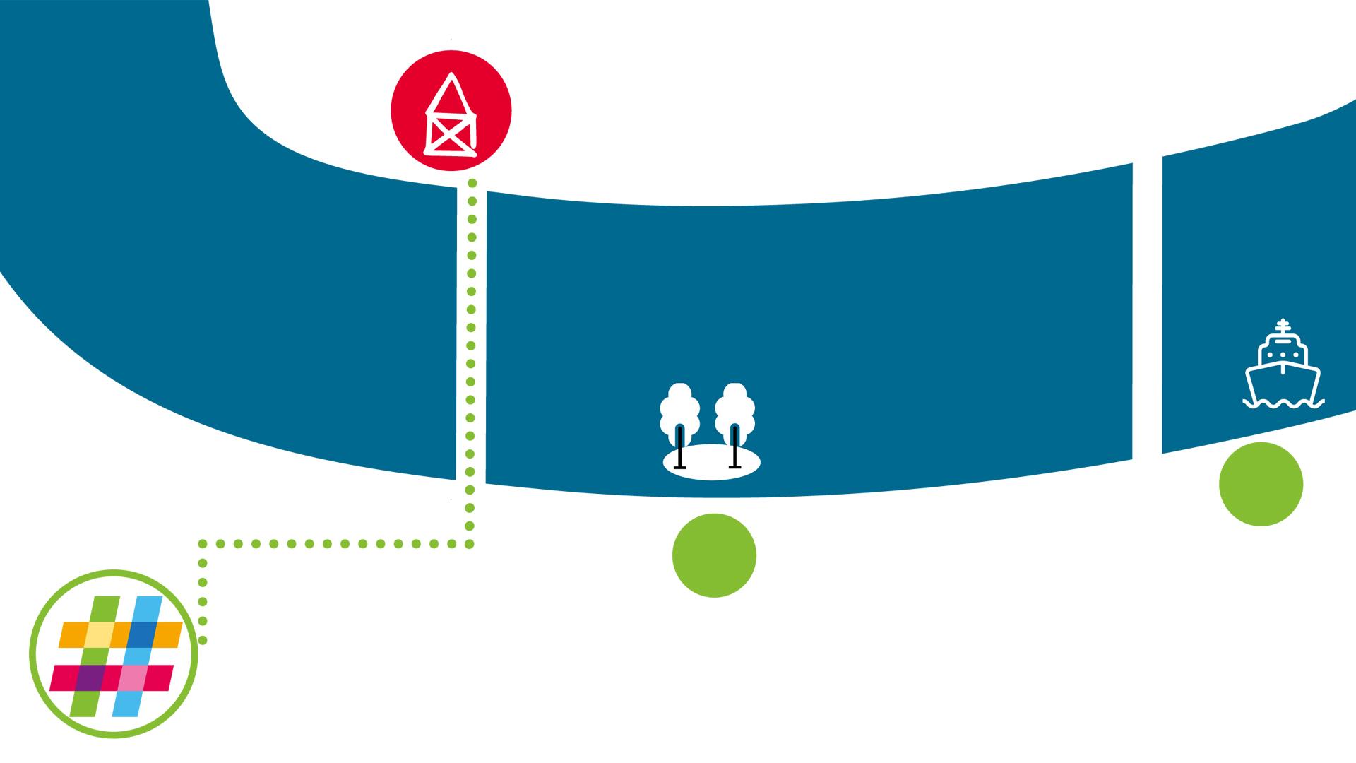 Stilisierte Grafik des Neckars mit dem Roten Haus am Fluss und dem Logo des Dezernat#16